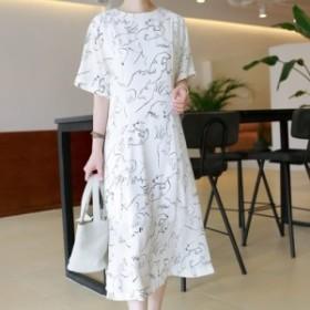 ワンピース レディース 韓国製 半袖 プリント Aライン マキシ ロング 大きいサイズ 大人カジュアル 結婚式 40代 ファッション 50代