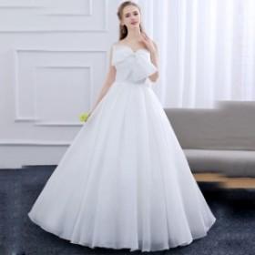 ウェディングドレスドレス 可愛い 結婚式 二次会 ホワイト 花嫁 ウェディング エンパイア 白ドレス ロングドレス 披露宴 お姫様