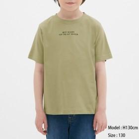 (GU)BOYSグラフィックT(半袖)(ロゴ) OLIVE 140