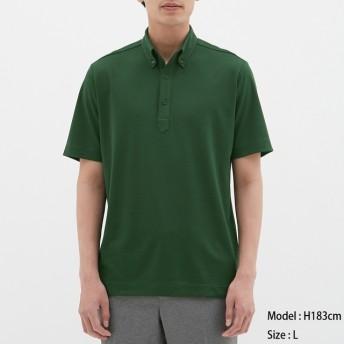 (GU)GUドライポロシャツ(半袖)(ボタンダウン)CL DARK GREEN L