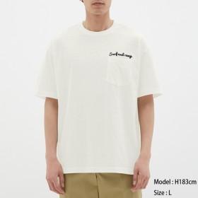 (GU)スラブビッグT(半袖)(ロゴ) WHITE M