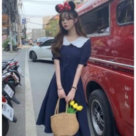 オルチャン 韓国 ファッション ワンピース 襟付き ひざ丈 フレア ハイウエスト Aライン 半袖 ガーリー デート お出かけ
