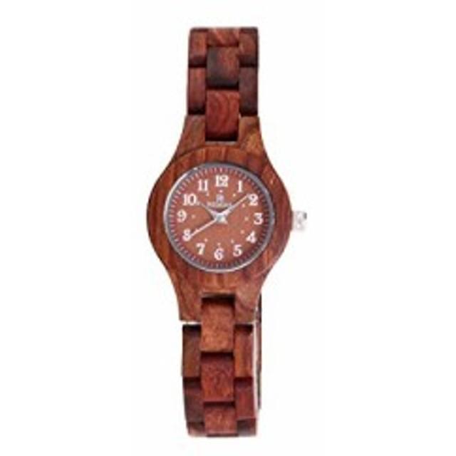 b9d24882b8 赤いビャクダン材女性のウッドの木製の腕輪時計流行日本人クオーツアナログ