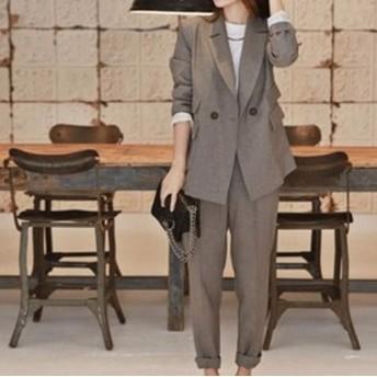 パンツスーツ セットアップ 襟あり フォーマル 大きいサイズ ダブルボタン サブリナパンツ レディース スーツ ジャケット ゆったり 黒