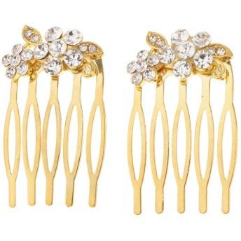 全2色5タイプ 髪のくし ヘアピース 髪留め 結婚式 花嫁用 ラインストーン 髪飾り おしゃれ 2個入 - #4ゴールド