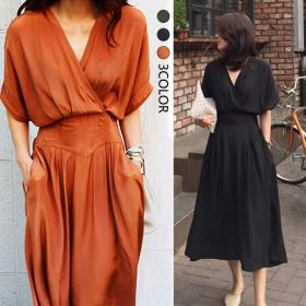 2019新作韓国ファッションウエストのやせが目立つVネック流行のお姉さんのファッションの大きいブランドのセクシーなワンピース