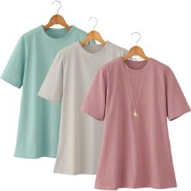 強撚綿100%サラッとTシャツ同サイズ3色組/M-LL