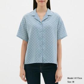 (GU)ドットオープンカラーシャツ(半袖) BLUE S