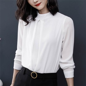 [55555SHOP] 【春の先行予約SALE 】ファッションで優雅で ホワイト シフォンシャツ OL 気質 プロの女性 レディース ボトミングシャツ