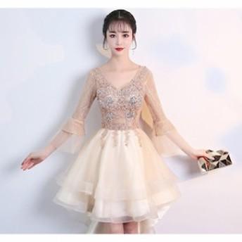 パーティドレス 二次会 結婚式 ドレス お呼ばれ ワンピース 20代 30代 袖あり 大きいサイズ ワンピース結婚式 【T002-HALN0502】