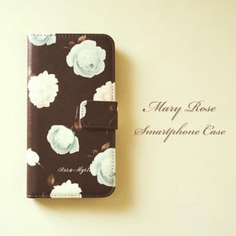 受注制作 手帳型iPhoneケース MaryRose ブラウン ブルー チョコミント 茶 花 ローズ 手帳型スマホケース