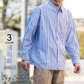 ビッグシルエット 長袖シャツ メンズ シャツ オーバーサイズ シャツ ドロップショルダー ストライプ シャツ カジュアルシャツ