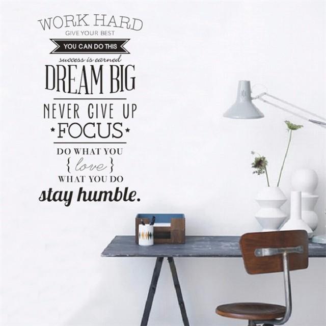 Work Hard ウォールステッカー 壁紙 英字 壁飾り 部屋飾り 仕事激励 面白い シール DIY 内装 オフィス飾りつけ 北欧モノトーン【管理番号:G195】