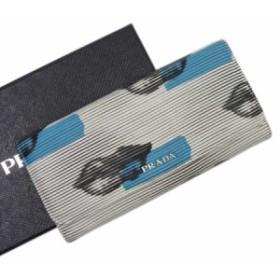 【定番人気】【中古】プラダ 二つ折り長財布  リップ レディース ホワイトxブルーxブラックxシルバー h21548