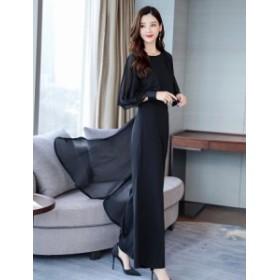 パンツドレス 結婚式 お呼ばれドレス 黒 韓国 パーティードレス かっこいいパンツドレス フォーマル シフォン ワイドパンツ 上品 大きい