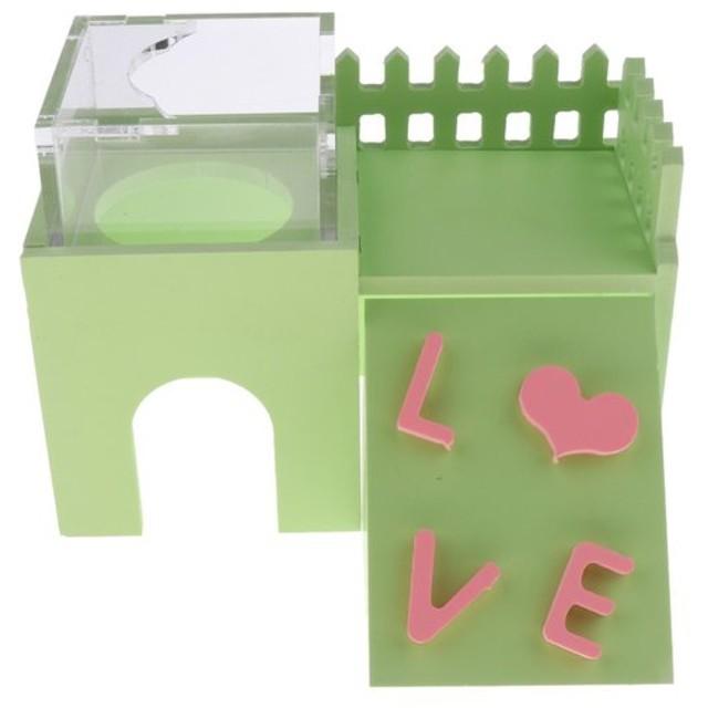 ハムスター  リス 巣 ベッド はしご おもちゃ フィーダー ボウル 無毒 無臭 無味 全3色  - 緑