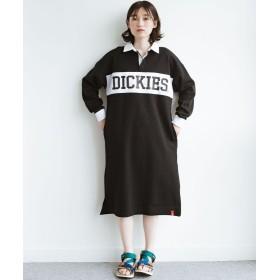 ハコ Dickies ポンチプリント異素材配色長袖ラガーシャツワンピース レディース ブラック N 【haco!】