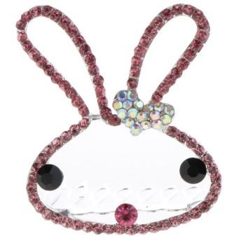 ヘアコーム ヘッドピース 髪の櫛 ラインストーン キラキラ ウサギ パーティー 髪飾り 3色選べる - ピンク