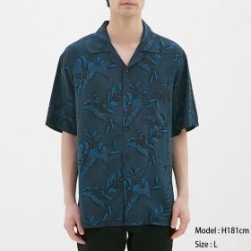 (GU)オープンカラーシャツ(半袖)nowartt2 NAVY L