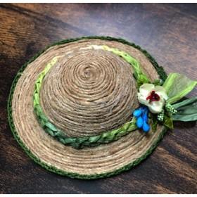 ミニチュア 麦わら帽子 グリーン 緑の紐