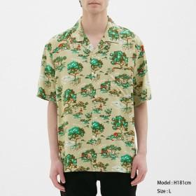 (GU)オープンカラーシャツ(半袖)nowartt1 BEIGE L