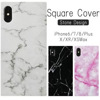 送料無料 iPhoneケース スクエア型 大理石柄 ストーン ソフトケース iPhoneX XR XSMax iPhone8 iPhone7 iPhone6 Plus スマホケース スクエア
