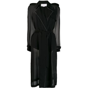 Genny ステッチディテール コート - ブラック