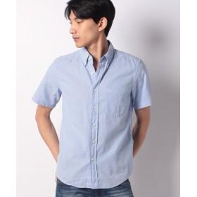 【40%OFF】 エドウィン EDWIN ボタンダウンシャツ 半袖(麻) メンズ ブルー S 【EDWIN】 【セール開催中】