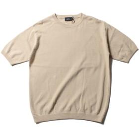 Tシャツ - SPUTNICKS ニット メンズ M L 綿 コットンニット ルーズ ビッグシルエット 半袖 5分袖 コットン 鹿の子 クルーネック サマー ニットSLICK スリック 5256405