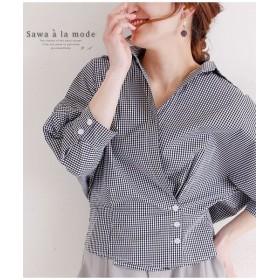 サワアラモード ギンガムチェック柄のドルマンカシュクールシャツ レディース ブラック F 【Sawa a la mode】