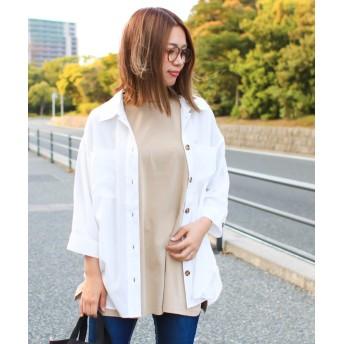 ソーシャルガール ポケット付オーバーサイズシャツ レディース オフホワイト M 【SocialGIRL】
