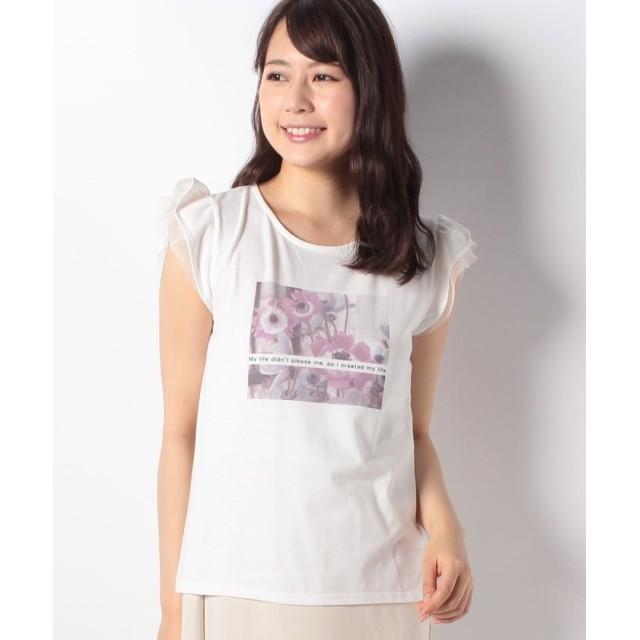 【61%OFF】 アラマンダ フリル袖アネモネ転写Tシャツ レディース オフホワイト 38 【allamanda】 【セール開催中】