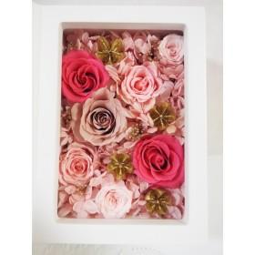 色変更などの相談OK 受注制作 2Lサイズ・2L判 写真立て フォトフレーム 薔薇たっぷり豪華 誕生日 記念日 ウェディング 結婚祝 結婚式 還暦祝 ピンク