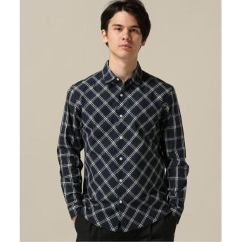 【62%OFF】 エディフィス フロントバイアスチェックシャツ メンズ グリーン M 【EDIFICE】 【セール開催中】