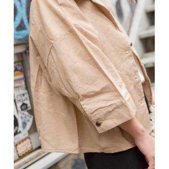シャツ - SpRay リネンライク5分袖オープンカラーシャツ