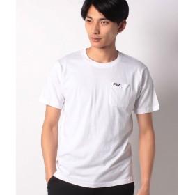 マルカワ フィラ ポケット ワンポイント刺繍 半袖Tシャツ メンズ ホワイト L 【MARUKAWA】