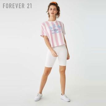FOREVER21 フォーエバー21 【BUMストライプクロップドTシャツ】(5,000円以上購入で送料無料)