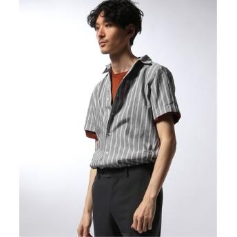 EDIFICE Matteucci / Belesto 別注 ダブルストライプ オープンカラー シャツ グレーB S