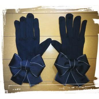 新作 UV 日焼け防止 夏用 手袋 運転 黒ステッチふっくらりぼん