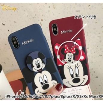スマホケース iphone7 カップルケース ディズニー ミッキー ミニー アイホンケースiphoneカバー スマホケース Mickeyカバーステント付き
