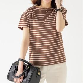 70%OFF【レディース】 ボートネックボーダーTシャツ(S-5L・半袖・2丈展開) ■カラー:ブラウニー×キナリ ■サイズ:M-ロング,S-ロング