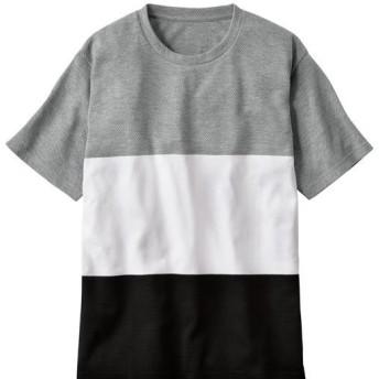 【メンズ】 ウワサの編み続きボーダー素材Tシャツ。見た目も着心地もサワヤカン☆彡 - セシール ■カラー:グレー系 ■サイズ:L,LL,5L,3L,M
