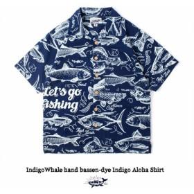 藍染 ハンドメイド 抜染 魚 半袖 Aloha シャツ