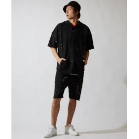 パーカ - improves ビッグパーカー メンズ レディース ビッグシルエット パーカー 半袖 スウェット スエット オーバーサイズ ビッグサイズ プルオーバーカットソー トップス ブラック グレー 黒 韓国ファッション ストリートファッション メンズファッション インプロー