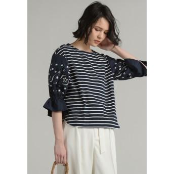 MAYSON GREY 袖星カットワーク刺繍プルオーバー Tシャツ・カットソー,ブルー系その他