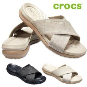 crocs クロックス Women's Capri Shimmer Cross-Band Sandal 204908