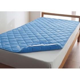 冷感パッドシーツ(スター柄・リバーシブルタイプ) - セシール ■カラー:ブルー ■サイズ:シングル(100×205cm)