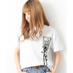 devirock×dotmaster コラボ プリント半袖Tシャツ レディース