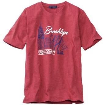 【メンズ】 プリントTシャツ!ほどよくムラ感のある素材がイイ感じ☆ ■カラー:ワイン ■サイズ:3L,5L,L,LL,M
