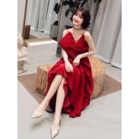 パーティードレス ロングドレス 二次会ドレス 披露宴 キャミドレス Vネック ノースリーブ Aラインドレス イブニングドレス 結婚式 ドレス